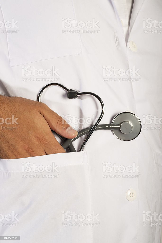 Doctor's pocket with stethoscope royalty-free stock photo