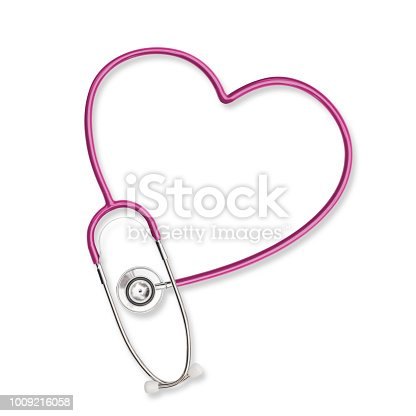 istock Doctor's stethoscope in heart shape  pink color isolated on white background with clipping path 1009216058