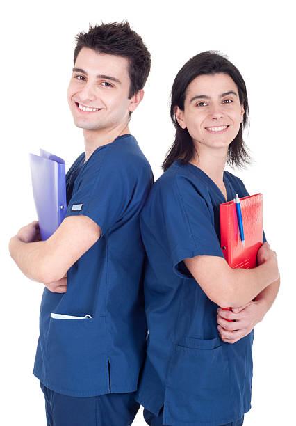 Doctors team holding folders stock photo