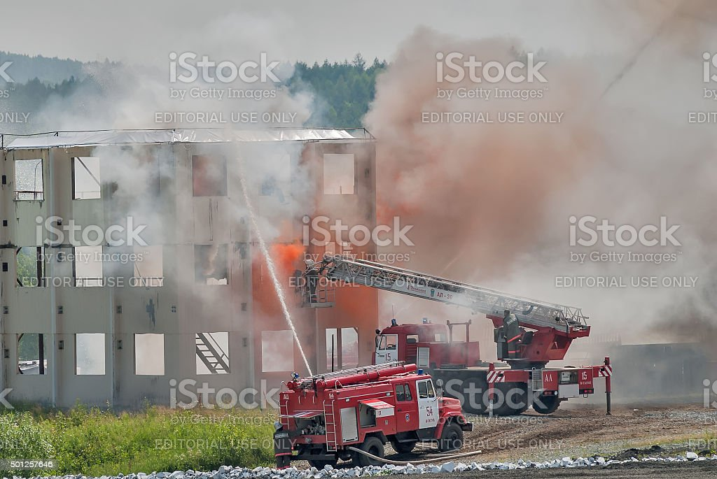 Doctrine of firefighters and ambulance team stock photo