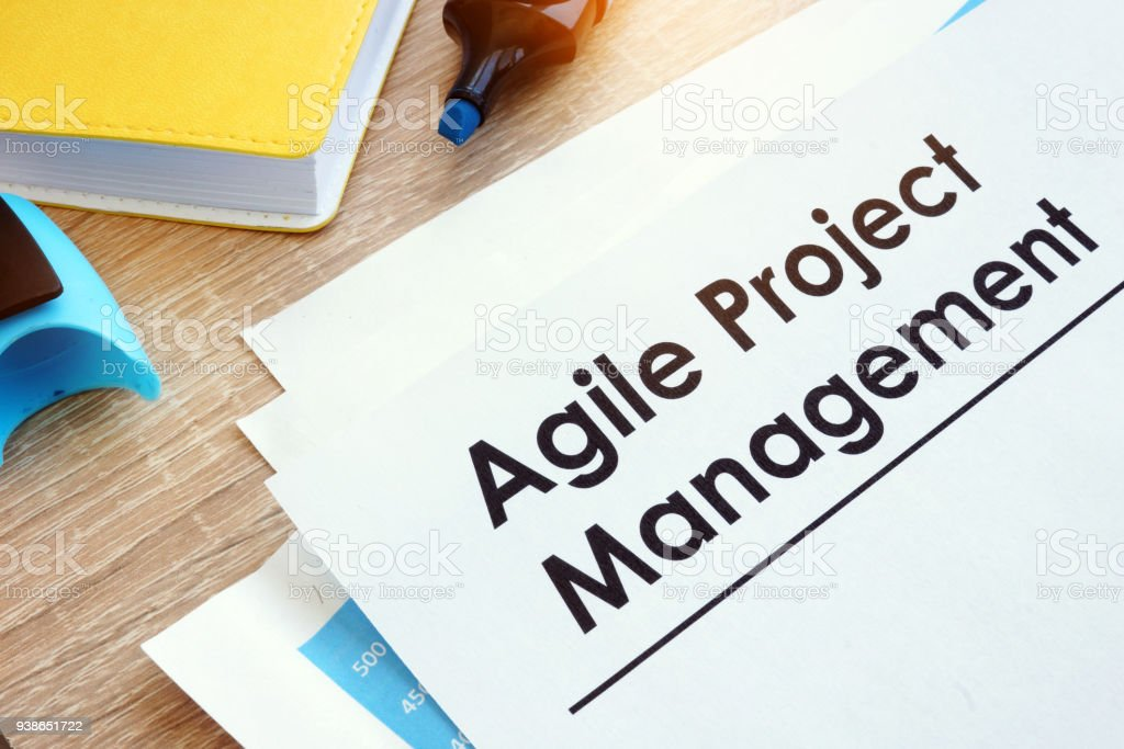 Document Agile Project Management on a table. stock photo