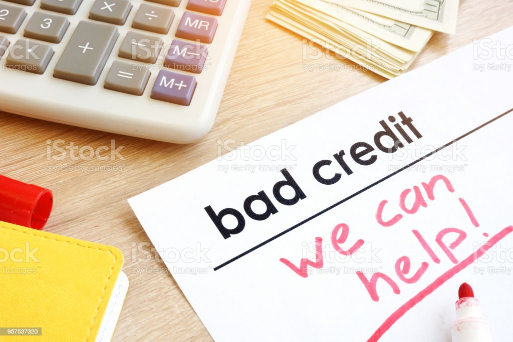 Document bad credit with sign we can help. stock photo