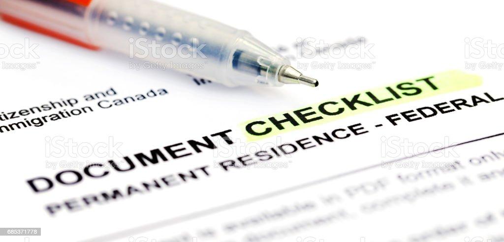 Document checklist for Visa application Canada foto de stock royalty-free