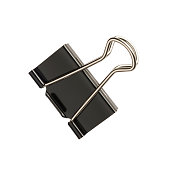 A studio shot of a bulldog clip isolated on a white background with clipping path