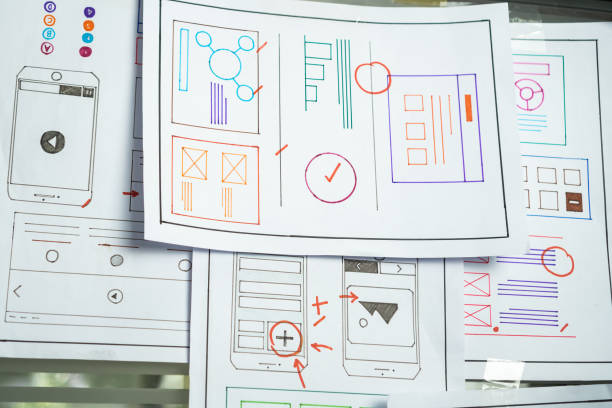 Document design software ux architect template developer project mobile app or application on wall paper work in office. Designers Planning of development in program website interface new apps ideas stock photo