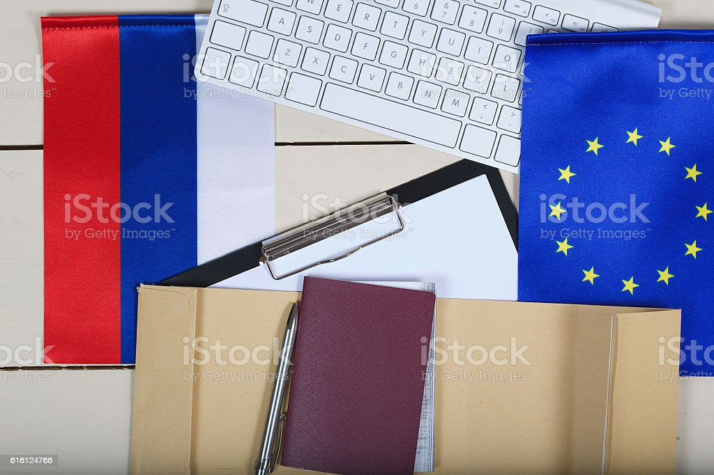 Document for visa application to EU and Russia. stock photo