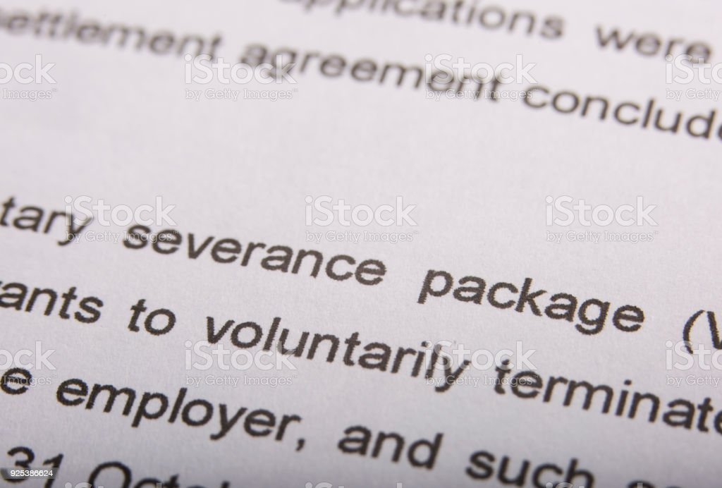 Document mentioning severance package and termination stock photo