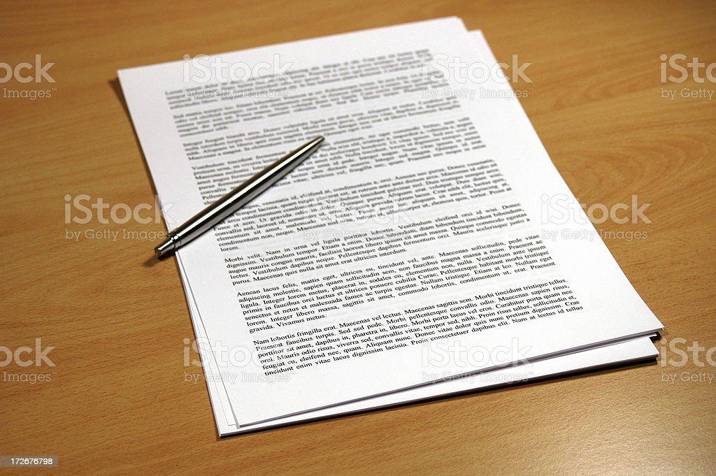 Document on Desk royalty-free stock photo