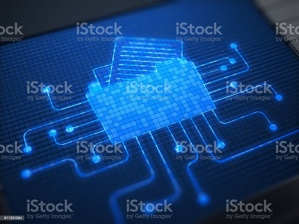 Document on digital screen stock photo