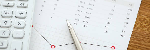 Document with monthly report stock photo