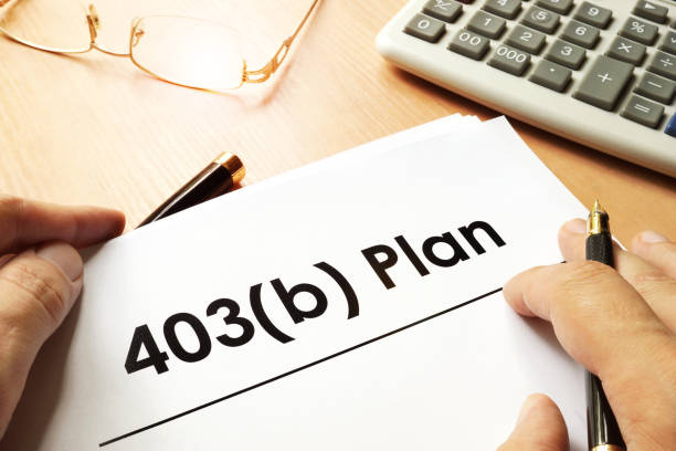 Document with sign 403b plan. Retirement concept. stock photo