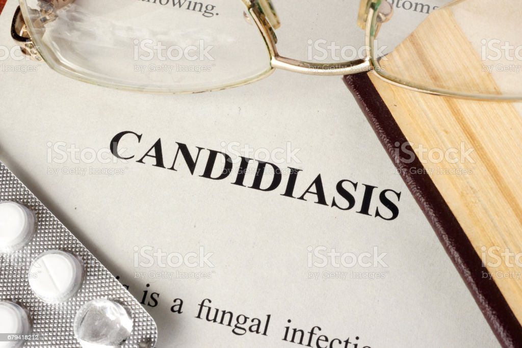 Document with title Candidiasis. stock photo