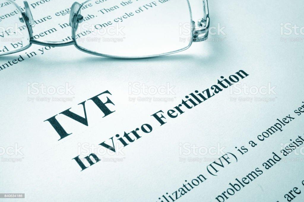 Document with title IVF (In Vitro Fertilization). stock photo