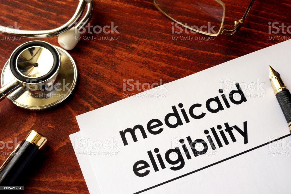 Document with title medicaid eligibility. stock photo