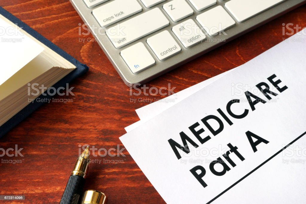 Document with title medicare part a. stock photo