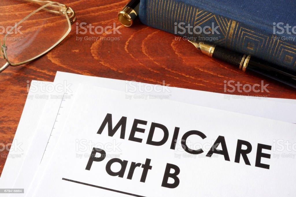 Document with title medicare part b. stock photo