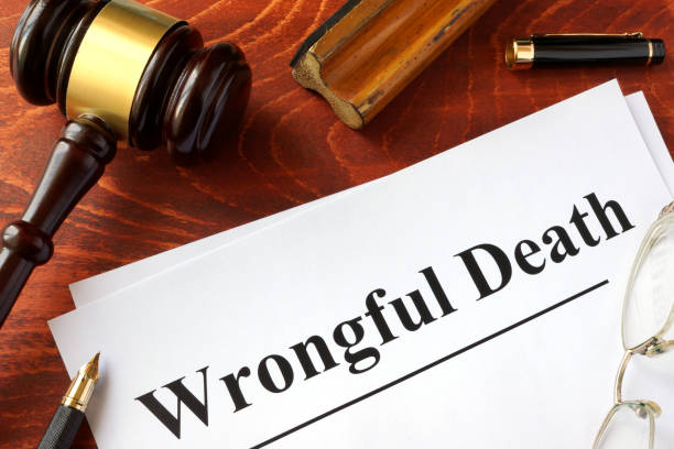 Document with title Wrongful Death o a wooden surface. stock photo