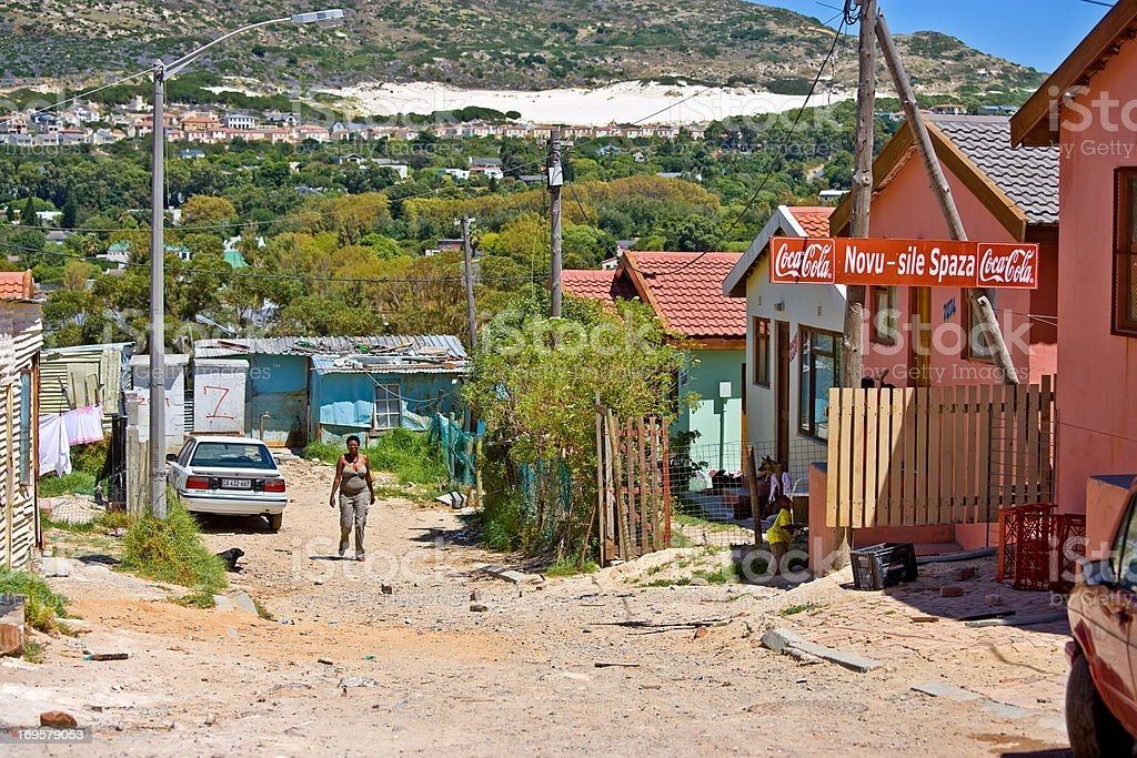 Documentary: Poor township close to Cape Town, South Africa stock photo