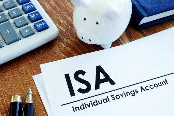 Documents about ISA Individual Savings Account and pen. stock photo