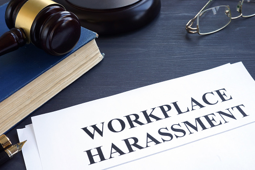 Documents about Workplace harassment in a court.