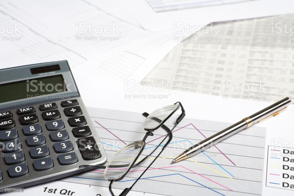 Documents calculator and graphs royalty-free stock photo