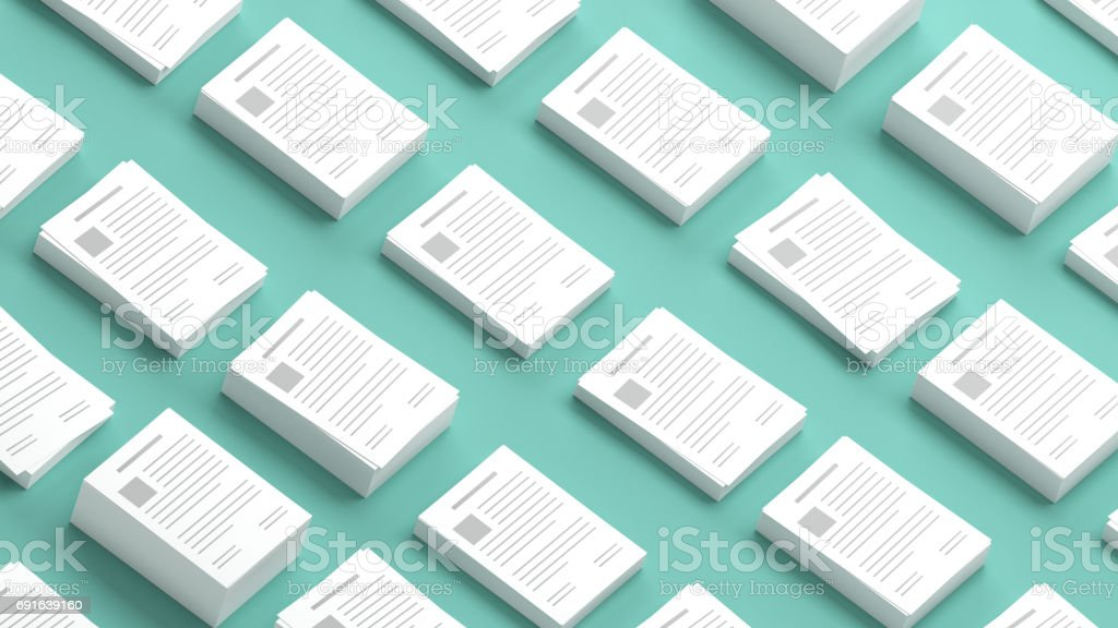 Documents collection on a green background 3D Illustration stock photo