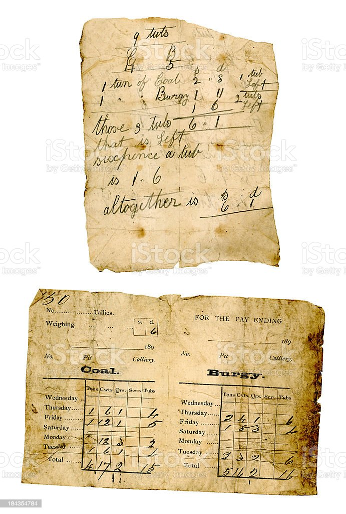 Documents from a 19th century coal pit royalty-free stock photo