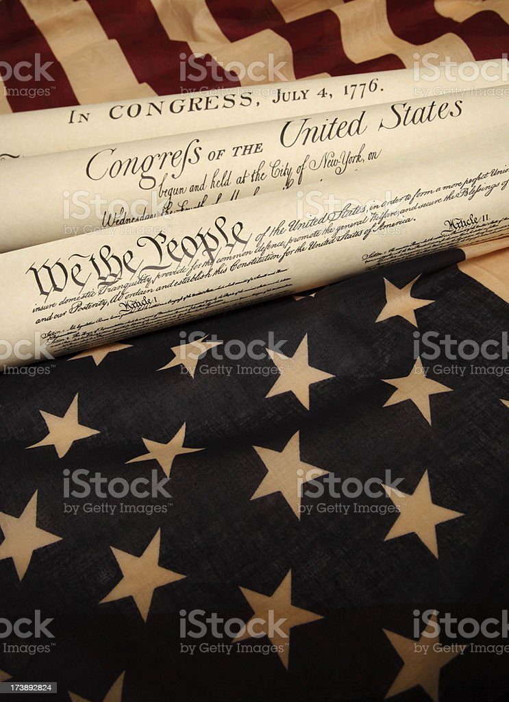 Documents of America History and US flag stock photo