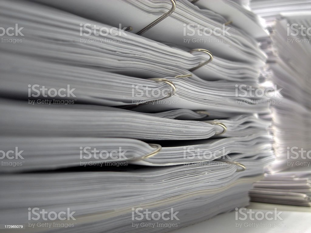 Documents with paperclips royalty-free stock photo