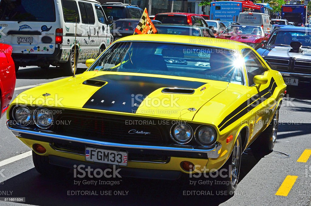 Dodge Challenger In Us Muscle Cars V8 Car Show Stock Photo & More ...