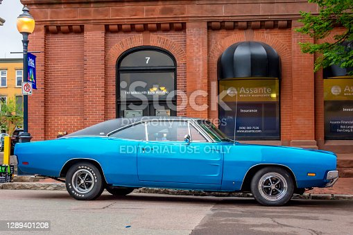 Moncton, New Brunswick, Canada - July 8, 2016 : 1969 Dodge Charger parked in downtown area during 2016 Atlantic Nationals, Moncton, New Brunswick, Canada.