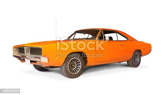 Dodge Charger 1969 isolated on white.