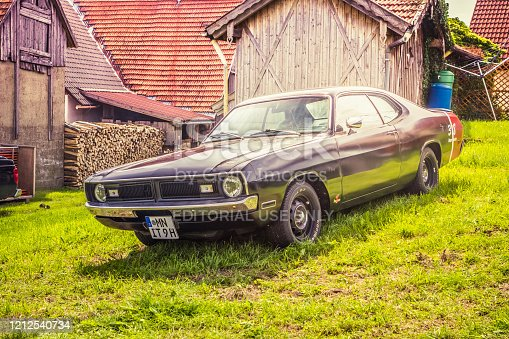 Hetzlinshofen, Germany - May 27, 2018: 1971 Dodge Dart Demon at the 6. Hetla-Klausa oldtimer car and tractor meeting.