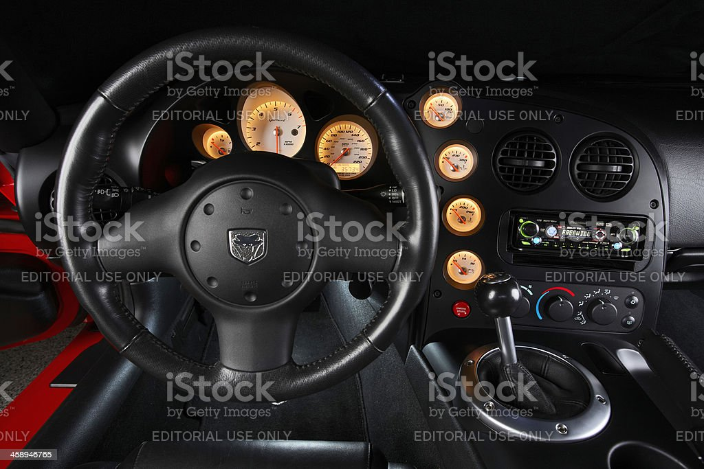 Dodge Viper SRT10 dashboard lights royalty-free stock photo