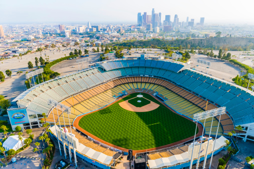 Dodger Stadium And Los Angeles Skyline Cityscape Panorama Aerial Stock Photo - Download Image Now