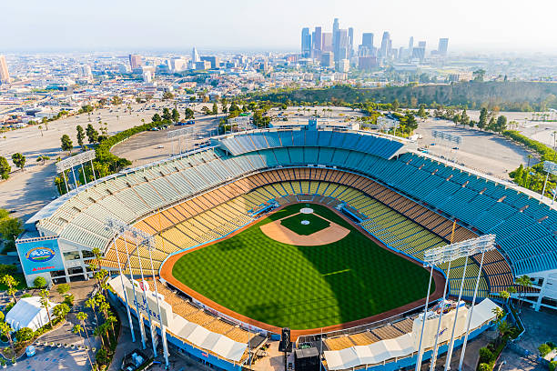 Dodger Stadium and Los Angeles skyline cityscape panorama aerial stock photo