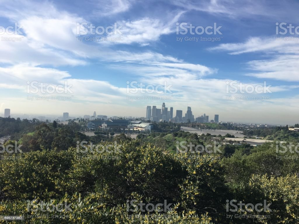 Dodger Stadium LA City view from the top stock photo