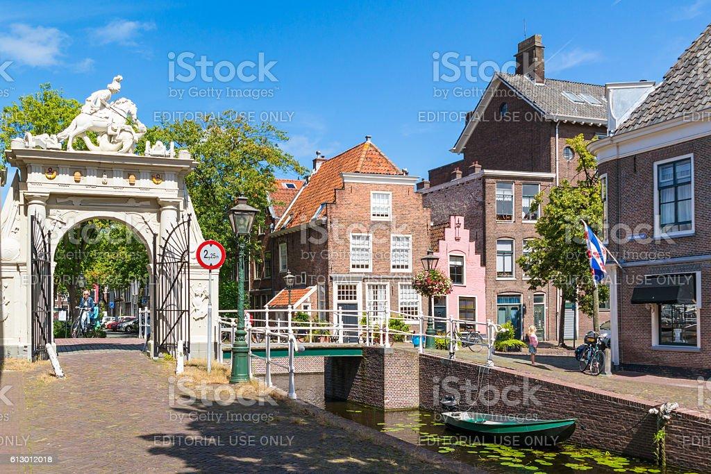 Doelenpoort gate on Doelengracht canal in Leiden, Netherlands stock photo