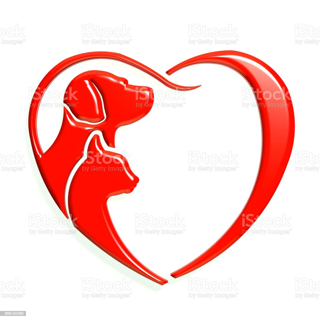 Dog and Cat Red Color Heart Love. 3D Rendering Illustration stock photo