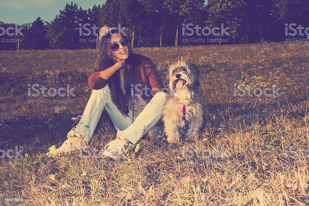 dog and girl royalty-free stock photo