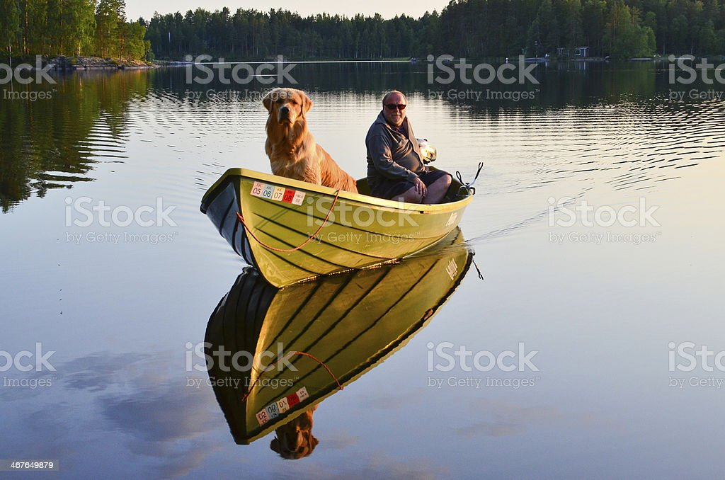Golden retriever enjoys a boat ride with his master on a beautiful...