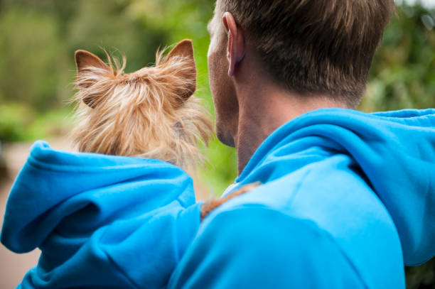 Dog and Owner in Matching Outfits stock photo