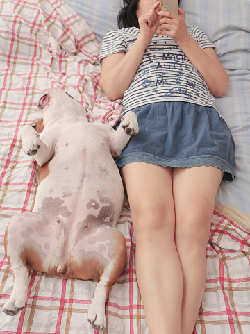 dog and woman relax in bed