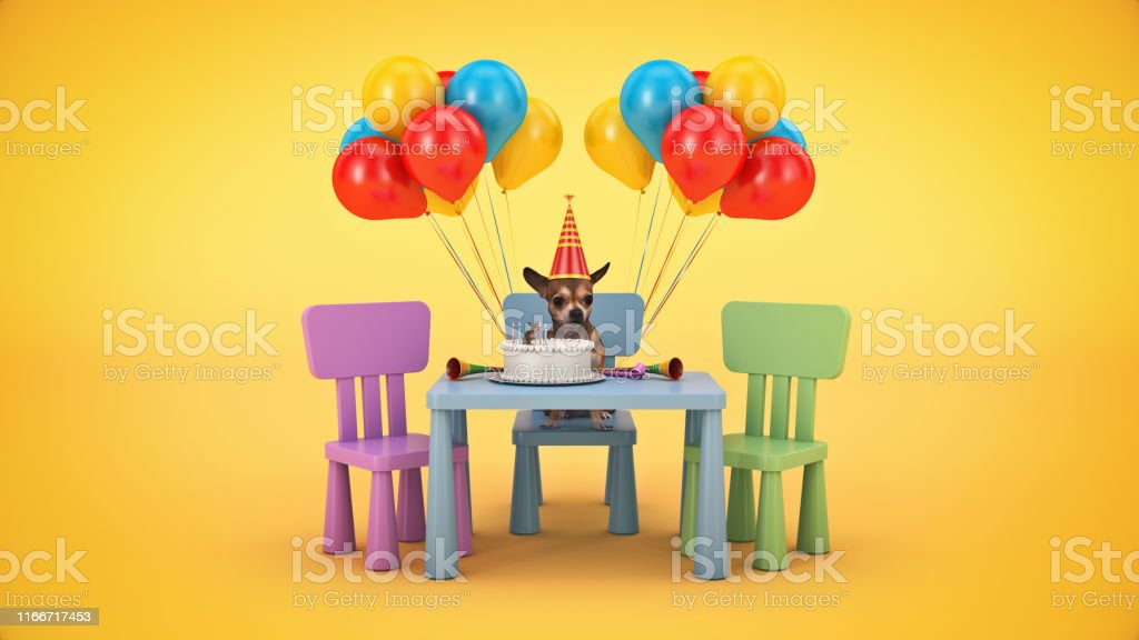 Dog Birthday Party. 3d rendering