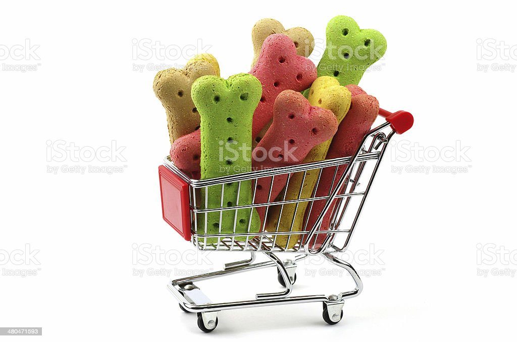 dog biscuits in a trolley stock photo