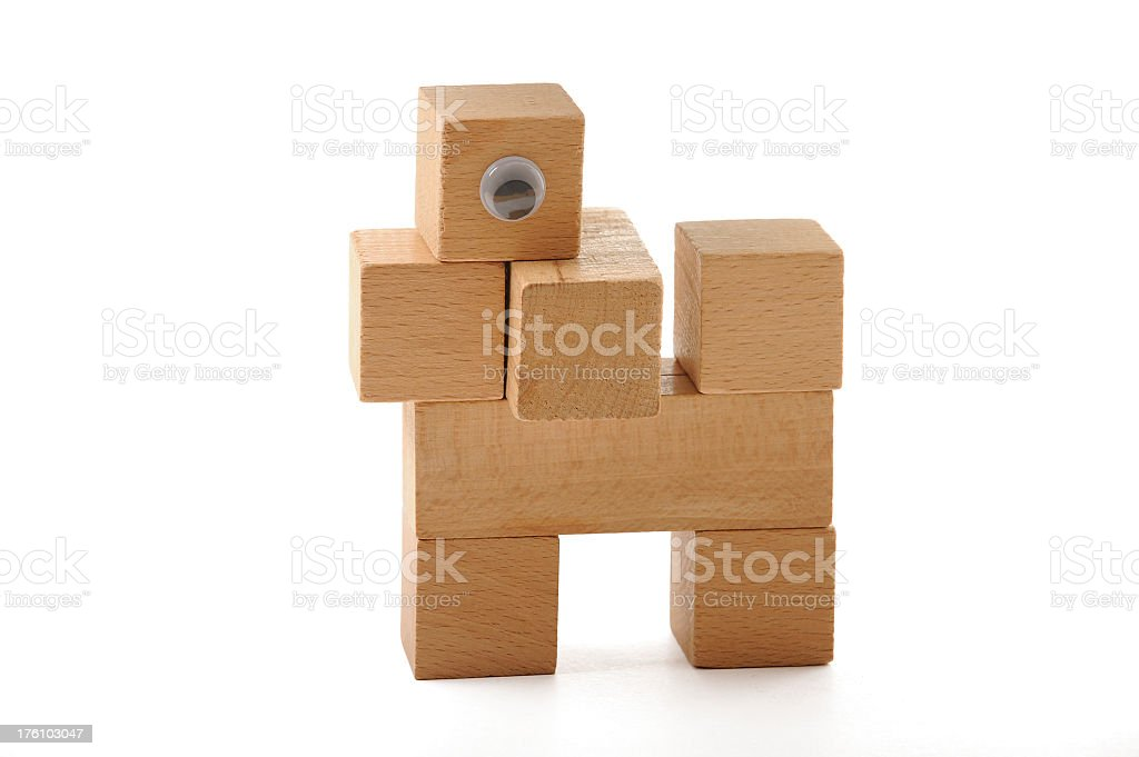 Dog built from wooden blocks royalty-free stock photo