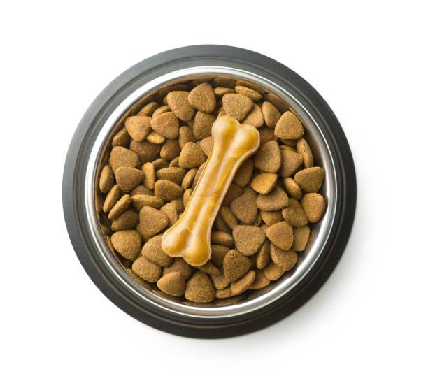 bot en droge verbrokkelen hondenvoer hond te kauwen - kauwgomachtig stockfoto's en -beelden