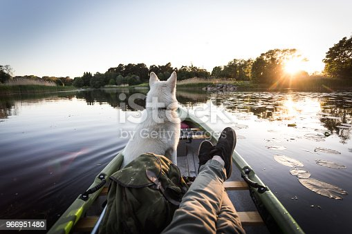 Photo series of man and his dog canoeing on river in warm summer before sunset.