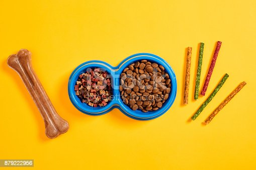 istock Dog food in blue bowl and accessories on yellow background 879222956