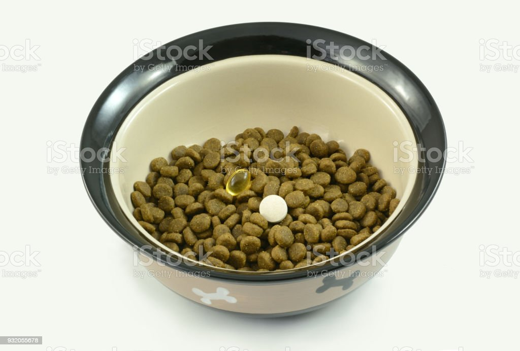 Dog food supplements on dog food stock photo